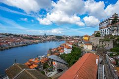 View from the iconic Dom Luis I bridge crossing the Douro River, stock photo
