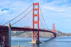 The Golden Gate Bridge Seen From Fort Point, San Francisco, California. View of the iconic Golden Gate Bridge crossing San Francisco Bay with the Marin Headlands royalty free stock photos
