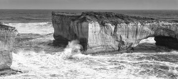 View of the iconic London Bridge in Victoria. Black and White. Stock Photo