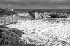 View of the iconic London Bridge in Victoria. Black and White. Stock Images