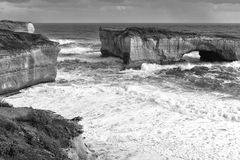 View of the iconic London Bridge in Victoria. Black and White. Royalty Free Stock Photography