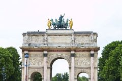 Arc of Triumph du Carrousel. View of the iconic monument Arc of Triumph du Carrousel  in Paris, France Royalty Free Stock Photo