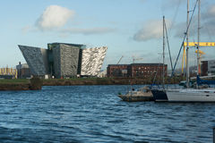 A view of the iconic Titanic building in Belfast`s Titanic Quarter royalty free stock images