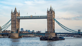 View of the iconic Tower Bridge, one of the landmarks in London. View of the iconic Tower Bridge, one of the main landmarks in London Royalty Free Stock Photo