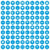 100 view icons set blue. 100 view icons set in blue hexagon isolated vector illustration Royalty Free Stock Image