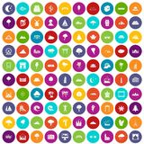 100 view icons set color. 100 view icons set in different colors circle isolated vector illustration Royalty Free Stock Images