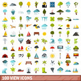 100 view icons set, flat style Royalty Free Stock Images