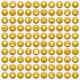 100 view icons set gold. 100 view icons set in gold circle isolated on white vectr illustration Stock Photos