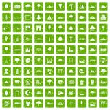 100 view icons set grunge green Stock Photography