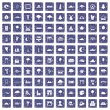 100 view icons set grunge sapphire. 100 view icons set in grunge style sapphire color isolated on white background vector illustration Stock Image