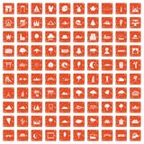 100 view icons set grunge orange. 100 view icons set in grunge style orange color  on white background vector illustration Royalty Free Stock Photo