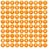 100 view icons set orange. 100 view icons set in orange circle isolated vector illustration stock illustration