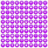 100 view icons set purple. 100 view icons set in purple circle isolated vector illustration Stock Images
