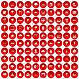 100 view icons set red. 100 view icons set in red circle isolated on white vectr illustration Royalty Free Stock Photography