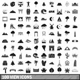 100 view icons set, simple style Stock Photos