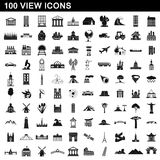 100 view icons set, simple style. 100 view icons set in simple style for any design vector illustration Stock Photo