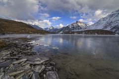 View of the icy lake and the high mountains Royalty Free Stock Photo