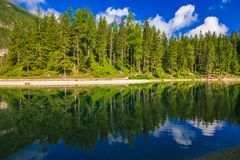 View of idyllic alpine lake in trentino alto-adige, north Italy royalty free stock photos