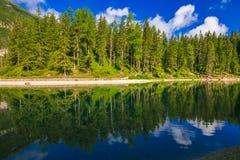 View of idyllic alpine lake in trentino alto-adige, north Italy royalty free stock photos