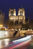 View if the Notre Dame and Siena in Paris at night. Stock Photo