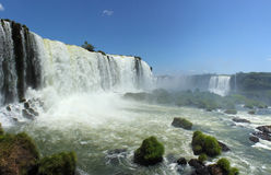 View from Iguassu Falls in a sunny day of summer. Panoramic view from the Brazilian side of the Iguassu Falls in a sunny day of summer, with Floriano Falls in Stock Image