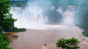 View of Iguazu Falls in Brazil in rainy day stock video