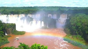 View of Iguazu waterfalls with a rainbow stock video