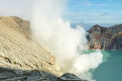 View from Ijen Crater, Sulfur fume at Kawah Ijen, Vocalno in Indenesia. Adventure asia beautiful blue east java foggy gas hard indonesia lake landmark landscape stock images