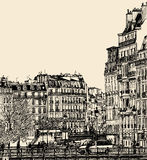 View of Ile Saint Louis in Paris Stock Photo