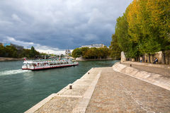 View from Ile Saint Louis to Ile de la City in Paris, France. They are the 2 remaining natural islands in the Seine. Its the centr Royalty Free Stock Photo
