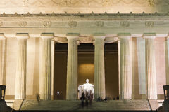 View into the illuminated Central Chamber of the Lincoln Memorial in Washington Royalty Free Stock Photography