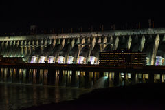 View of the illuminated Itaipu dam giant barrage Royalty Free Stock Photography