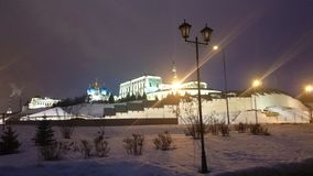 View of the illuminated Kremlin in the winter evening, Kazan, Russia stock photography