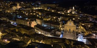 View of the illuminated Modica. In Sicily, Italy Royalty Free Stock Photos
