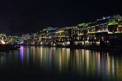 View of illuminated riverside houses in Fenghuang Royalty Free Stock Photography