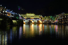 View of illuminated riverside houses in Fenghuang Royalty Free Stock Photos