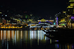 View of illuminated stone bridge in Fenghuang Stock Photos