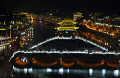 View of illuminated stone bridge in Fenghuang Royalty Free Stock Photo
