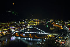 View of illuminated stone bridge in Fenghuang Stock Photography