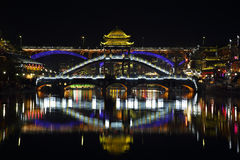 View of illuminated stone bridge in Fenghuang Stock Photo