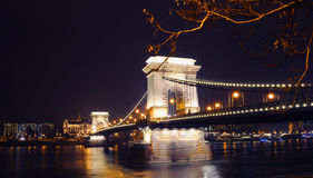 View on the illuminated Szechenyi Chain Bridge Stock Images