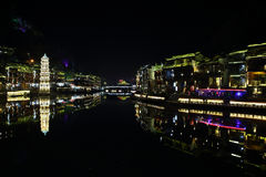 View of illuminated Wanming Pagoda in Fenghuang, Royalty Free Stock Photos