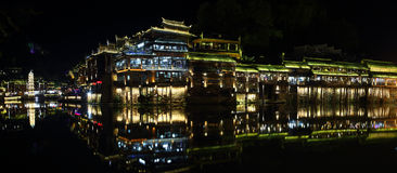 View of illuminated Wanming Pagoda in Fenghuang, Stock Images