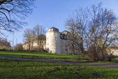 View from the Ilm park in weimar to green castle and Anna Amalia Stock Photo