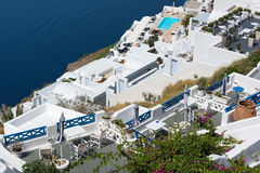 View of Imerovigli village with typical white Greek houses on Santorini island, Greece Royalty Free Stock Photo