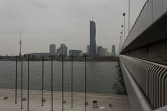 View from the imperial bridge of the Danube and modern glass buildings Royalty Free Stock Image