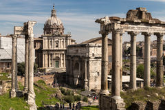 View of Imperial Fora from Monte Tarpeo street - Rome Royalty Free Stock Photo