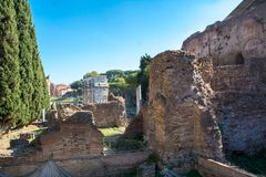 View of the imperial forum in rome royalty free stock image