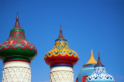View of imperial shaped roofs in oriental style. Blue sky Stock Images