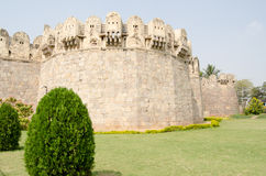 Exterior wall, Golcanda Fort. View of the impressive exterior walls surrounding the medieval Golcanda Fort in Hyderabad, India Royalty Free Stock Photos